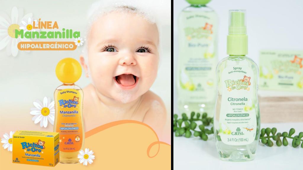 shampoo de bebé, colonia de bebé, aceite de bebé, repelente de mosquitos para bebé